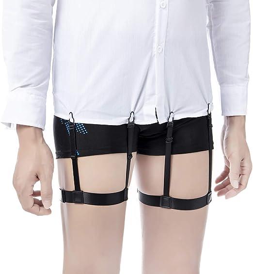 2PCS Shirt Stay Holder Clip Elastic Garters Belt with Locking Clip for Man Women