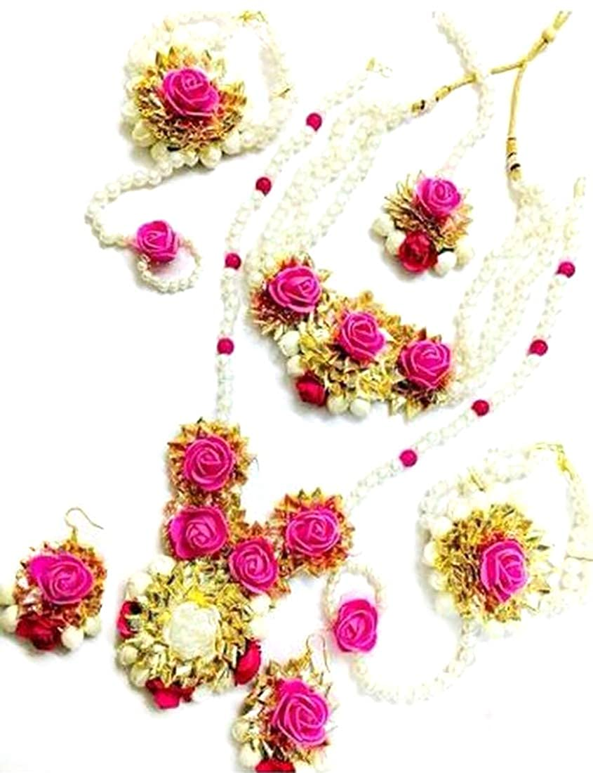 Buy Quvyarts Floret Pink Gota Patti Flower Jewellery Set For Girls