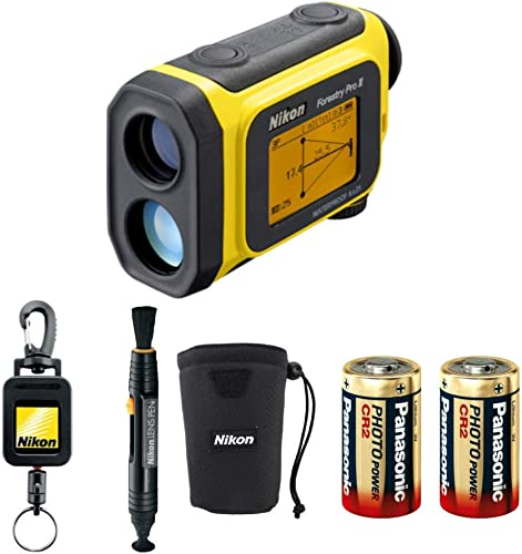 Nikon Forestry Pro II Laser Rangefinder Bundle with Lens Pen, Retractable Rangefinder Tether, and 2 Spare Batteries 5 Items