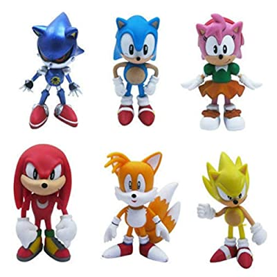 SUPFANS 6 PCS Sonic The Hedgehog Action Figures Cake Toppers Cute Toys Birthday Gift Set: Toys & Games