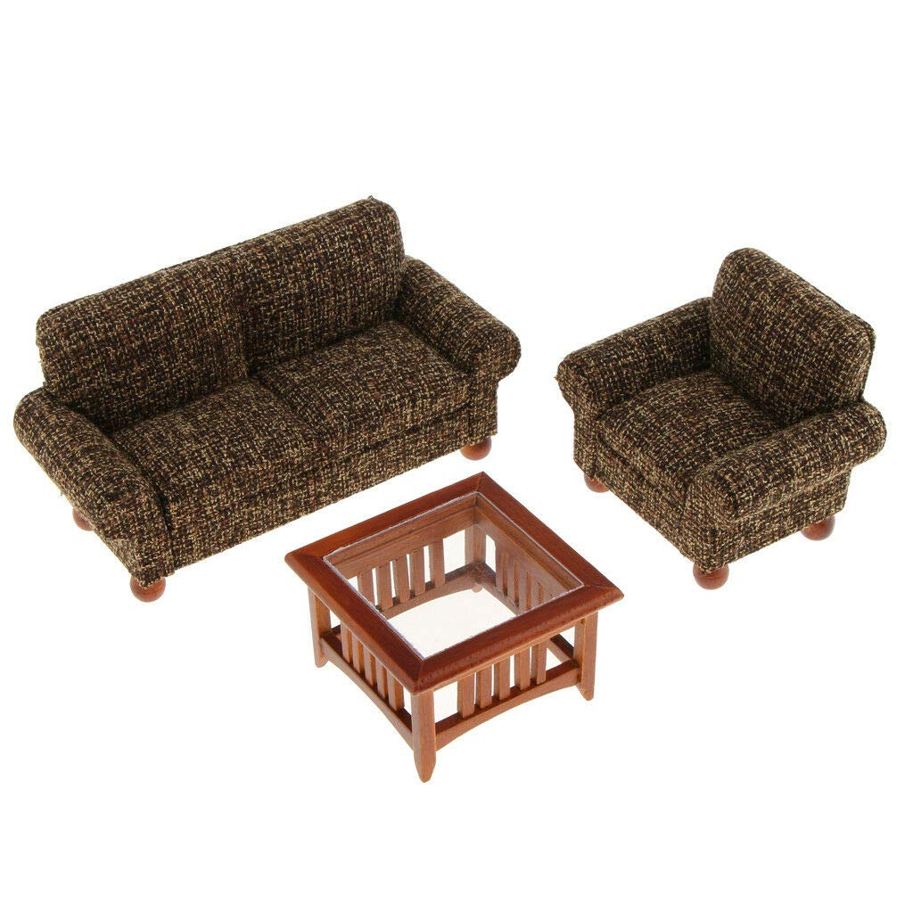 1/12 Dollhouse Miniature Furniture Living Room Couch Sofa Table Satz Black