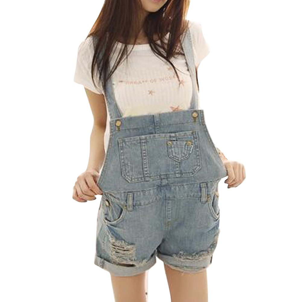 Vobaga women's Blue Striped Denim Distresses Style Front Flap Pocket Short Overalls WP30-M