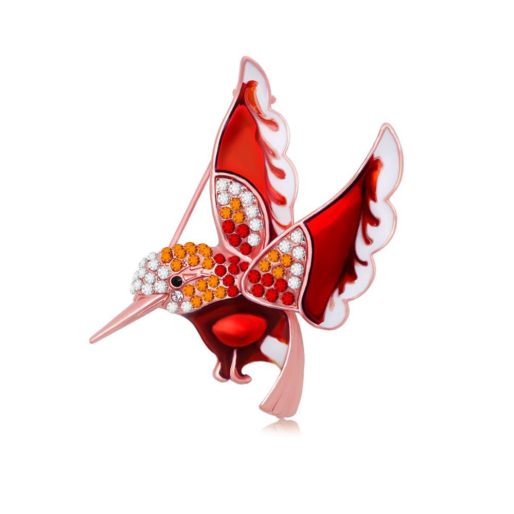 RUXIANG Crystal Enamel Rhinestone Hummingbird Brooches Pin Elegant Dresses Jewelry (rose gold)