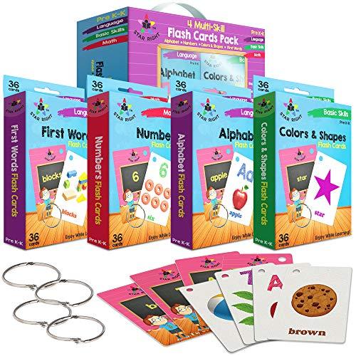 타 플래시 카드를 설정 4 숫자 알파벳 첫 번째 단어 색상 및 형태 값 팩 플래시 카드를 반지와 함께한 전 K K