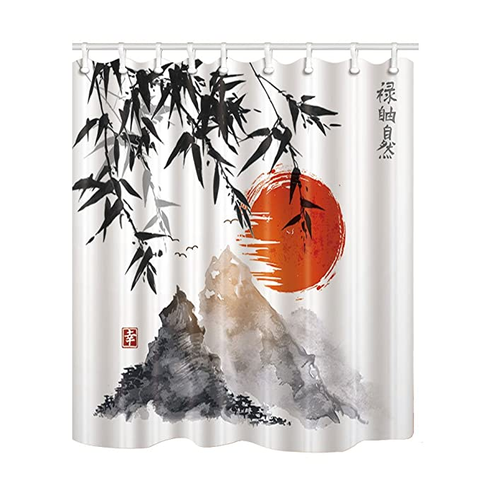 NYMB Japanese Bamboo Trees Sun Mountains Bath Curtain, Polyester Fabric Waterproof Shower Curtains, 69X70 in, Shower Curtain Hooks Included, Red(Multi4)