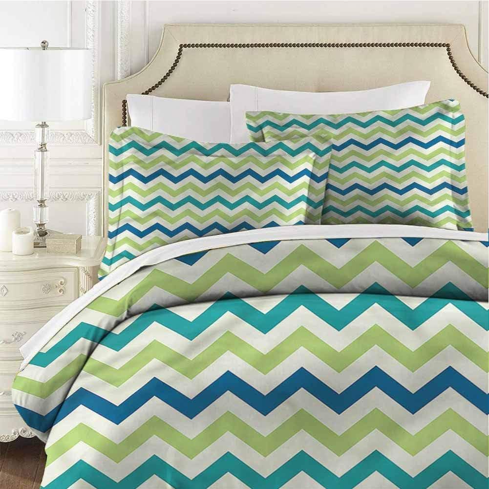 Chevron Full Size Sheet Set-3 Piece Set,Comforter Set Bed Comforter Bedding Set Vintage Style Zigzag Shape Easy Care Bedding Cover Washed Microfiber