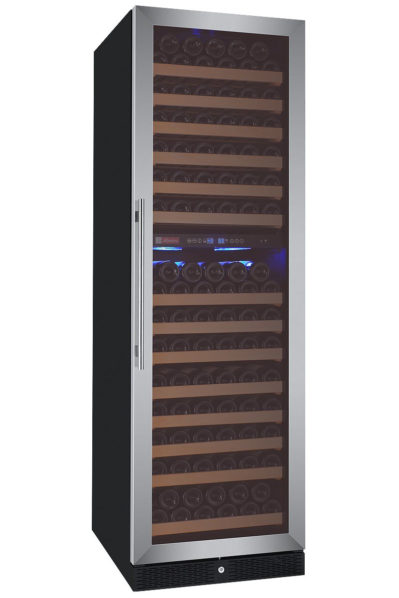 Allavino FlexCount Classic Series 172 Bottle Dual-Zone Wine Refrigerator Right Hinge Stainless Steel