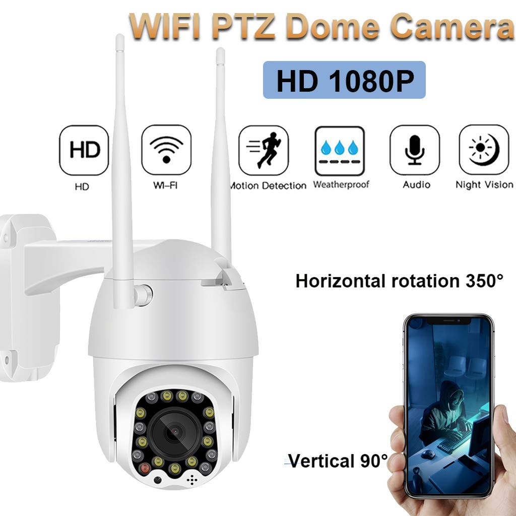 CreazyBee 1080P PTZ WiFi 4X Digital Zoom Camera Outdoor Auto Tracking Speed Dome WiFi Wireless CCTV Camera, Motion Alarm, Night Vision Cam, for Indoor and Outdoor Security Surveillance (White) by CreazyBee
