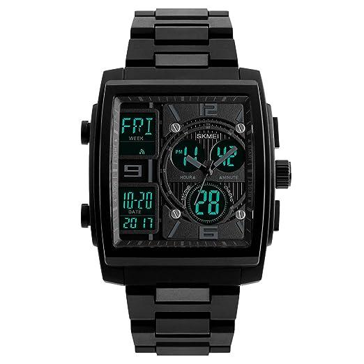 Reloj de cuarzo para hombre, forma rectangular, cronógrafo multifunción, deportivo, casual, reloj digital con múltiples zonas horarias, pantalla dual: ...