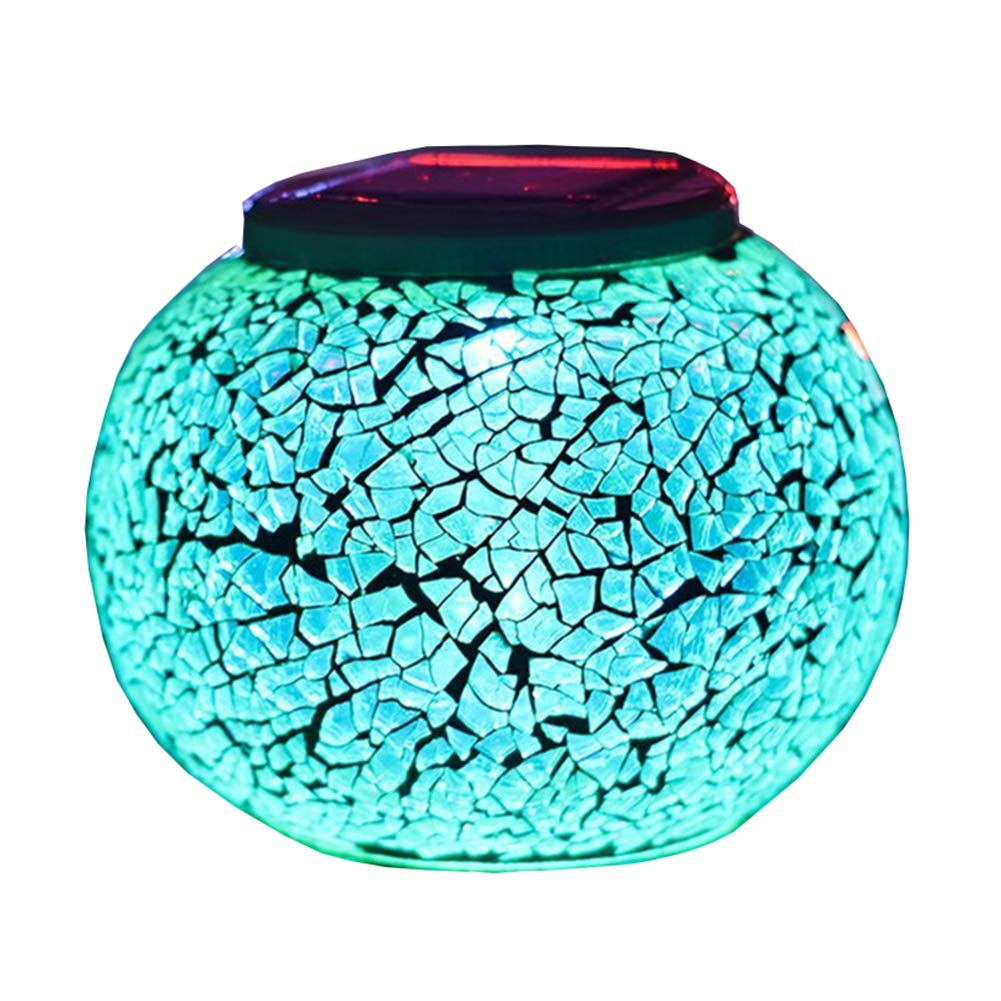 Color Changing Solar Powered Glass Ball Garden Lights, Aukora Solar Table Lights Waterproof Solar Led Night Light Outdoor for Patio Garden Wedding Christmas Decoration, Ideal Gifts(Crack Glass)