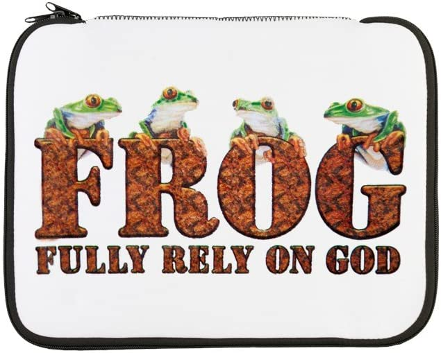 13 Inch Laptop Sleeve Frog Fully Rely On God