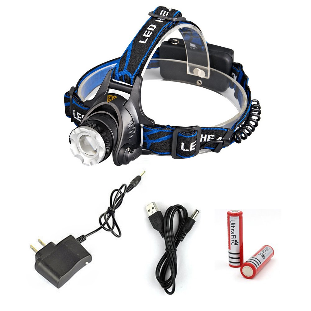 1000 Lumen Hid Professional Tactical Headlamp Flashlight, Ultra Bright High Power Hunting Military Headlamp, Zoomable cree LED Industrial Waterproof Caving Headlamp, for Hiking, Camping, and Fishing