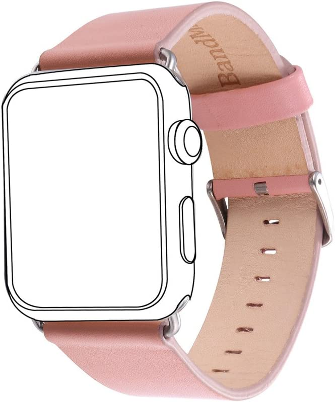 Bandmax Leather Wristband Compatible Apple Watch, PU Leather Strap Replacement Classic Steel Buckle Compatible iWatch Series 5/4/3/2/1 All Version 38MM/40MM(Light Pink)