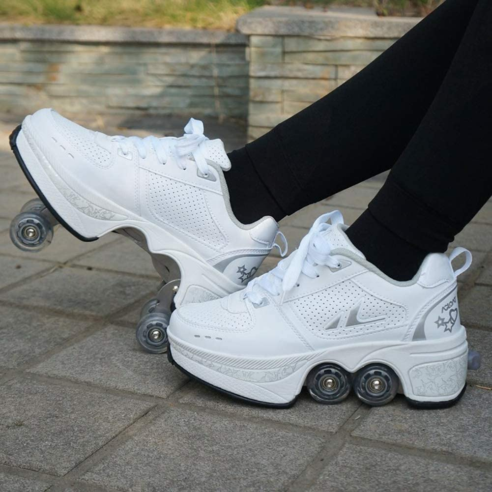 Automatic Walking Shoes Invisible Roller Skate 2 in 1 Removable Pulley Skates Skating Double-Row Deform Wheel Deformation