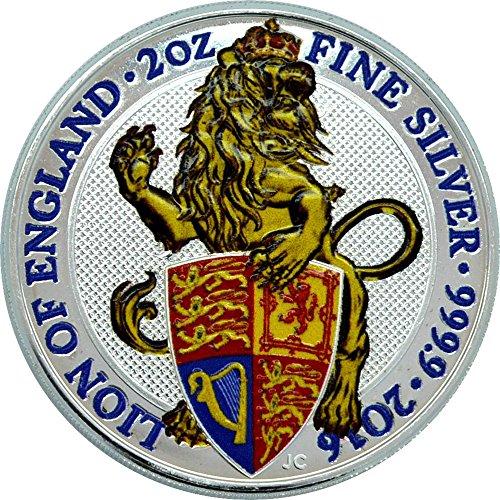 (2016 GB Queen Beasts Coloured PowerCoin LION 2 Oz Silver Coin 5£ United Kingdom 2016 BU Brilliant Uncirculated)