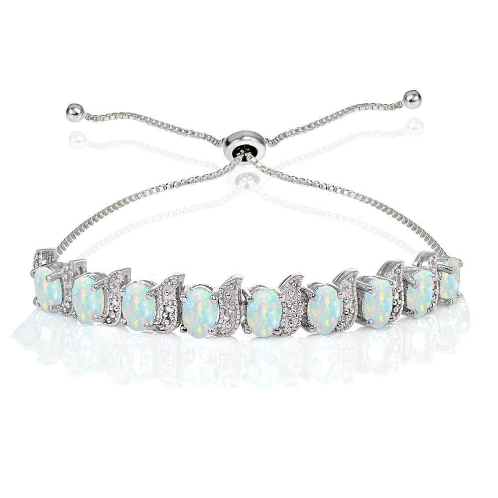 Sterling Silver Created White Opal Oval & S Adjustable Tennis Bracelet