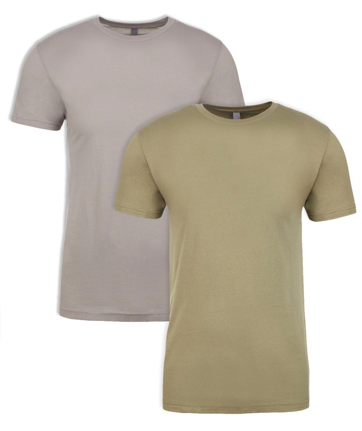 - Next Level NL3600 100% Cotton Premium Fitted Short Sleeve Crew 1 Light Grey + 1 Light Olive XX-Large