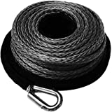 """FIERYRED Synthetic Winch Rope 3/8"""" x 85' - 23809 Ibs Winch Line Cable Rope with Protective Sleeve for 4WD Off Road Vehicle JE"""