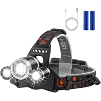 LED Headlamp Flashlight Kit, Newdora 800 Lumen Extreme Bright Headlight with Red Safety Light, 4 Modes, Waterproof, Portable Light for Camping, Biking, 2 Rechargeable 18650 Batteries Included