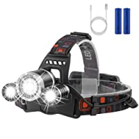 LED Headlamp Flashlight Kit, Newdora 6000 Lumen Extreme Bright Headlight with Red Safety Light, 4 Modes, Waterproof, Portable Light for Camping, Biking, 2 Rechargeable 18650 Batteries Included