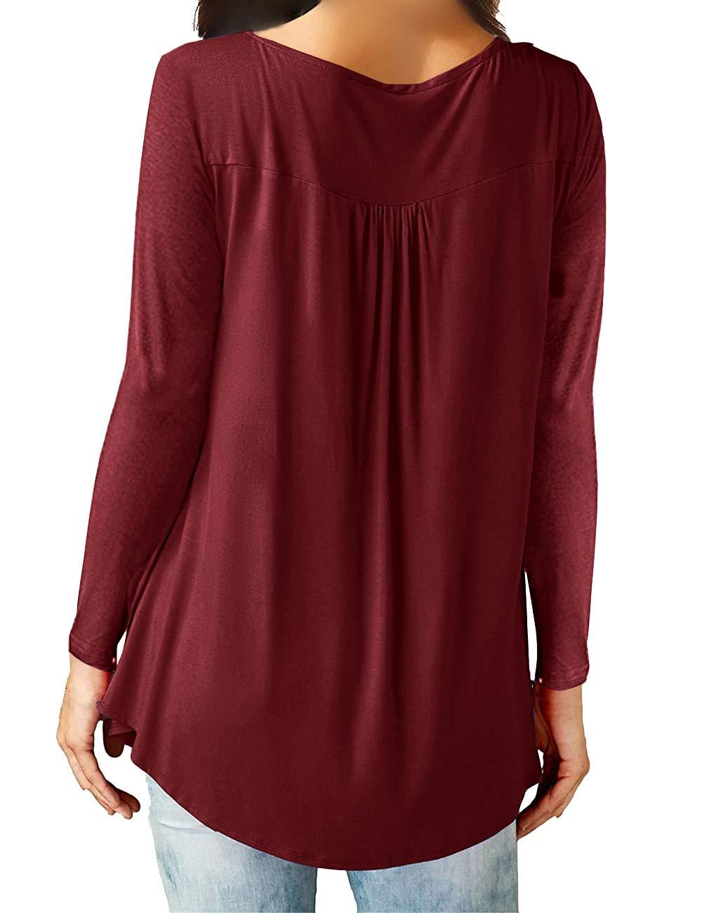 Eanklosco Camisetas Cuello en V Casual Manga Larga para Mujer (Vino Rojo, XL/ES 50-52)