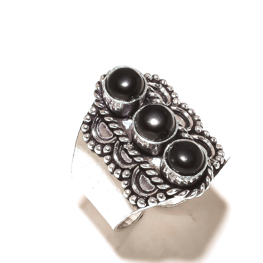 Black Onyx Sterling Silver Overlay Ring Size 11 US Sizable Gift Jewelry Handmade Jewelry
