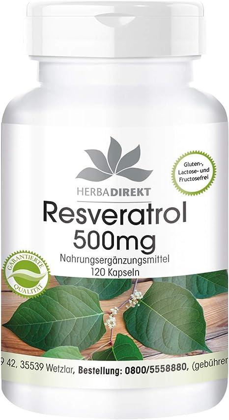 Herbadirekt Resveratrol 500mg High Dose Vegan 120 Capsules