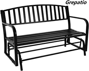 """Grepatio Outdoor Patio Glider Bench - Cast Iron Loveseat Porch Swing Chair, Double Bench Seating for Park, Backyard, Garden - 50"""" Classic Black"""