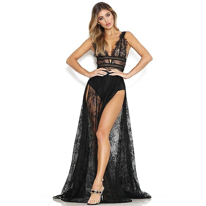 dbb049d68025 SMARTRICH Abito Lungo in Pizzo Trasparente con Scollo a V Profondo per Le  Donne Pure Dress Lungo con Cerniera Femminile per la Festa in Spiaggia   Amazon.it  ...