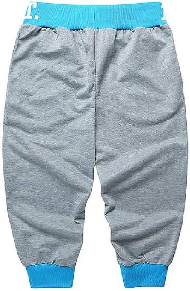 pipigo Mens Summer Contrast Letter Print Cropped Pants Sports Jogger Shorts