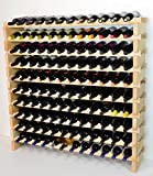 Modular Wine Rack Beechwood 48-144 Bottle Capacity 12 Bottles Across up to 12 Rows Newest Improved Model (120 Bottles - 10 Rows)