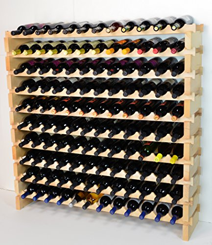 Modular Wine Rack Pine Wood 48-144 Bottle Capacity Storage 12 Bottles Across up to 12 Rows Stackable Newest Improved Model (120 Bottles - 10 Rows)