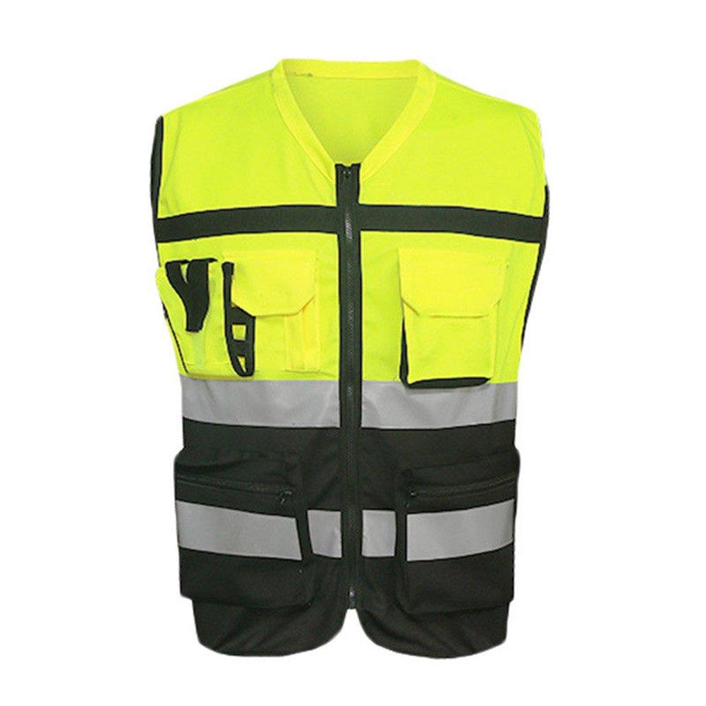 lzndeal Gilet riflettente per la Corsa, Bicicletta, Marche, Bicicletta gilet di sicurezza riflettenti Giacca con tasche, 2XL