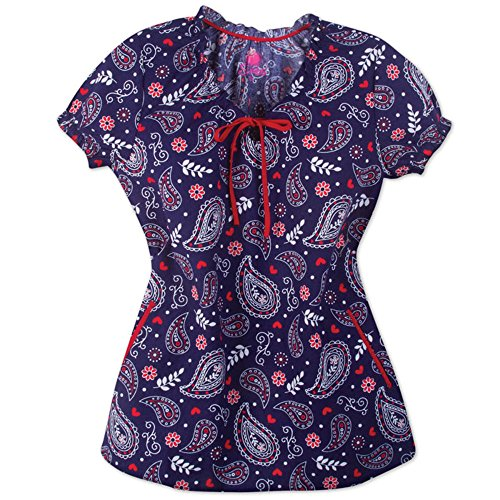 I Love Scrubs Womens Cotton Camilla PrintsJewel Neck Ruffle Medical Scrub Top (M, Hamptons)