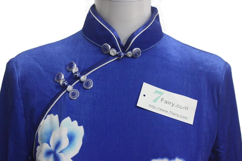 7Fairy Women's Blue & White Chinese Porcelain Color Velvet Long Dress