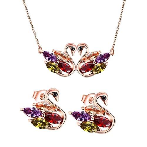 Neu Mode Blumen Halskette Ohrringe Diamant Elegante Frauen Schmuck Set von An VG