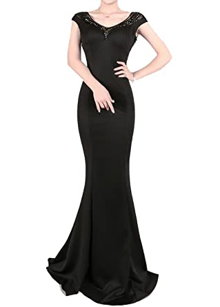 1931trendy Womens Formal Long Cocktail Evening Sequins Mermaid Prom Dress Black 0