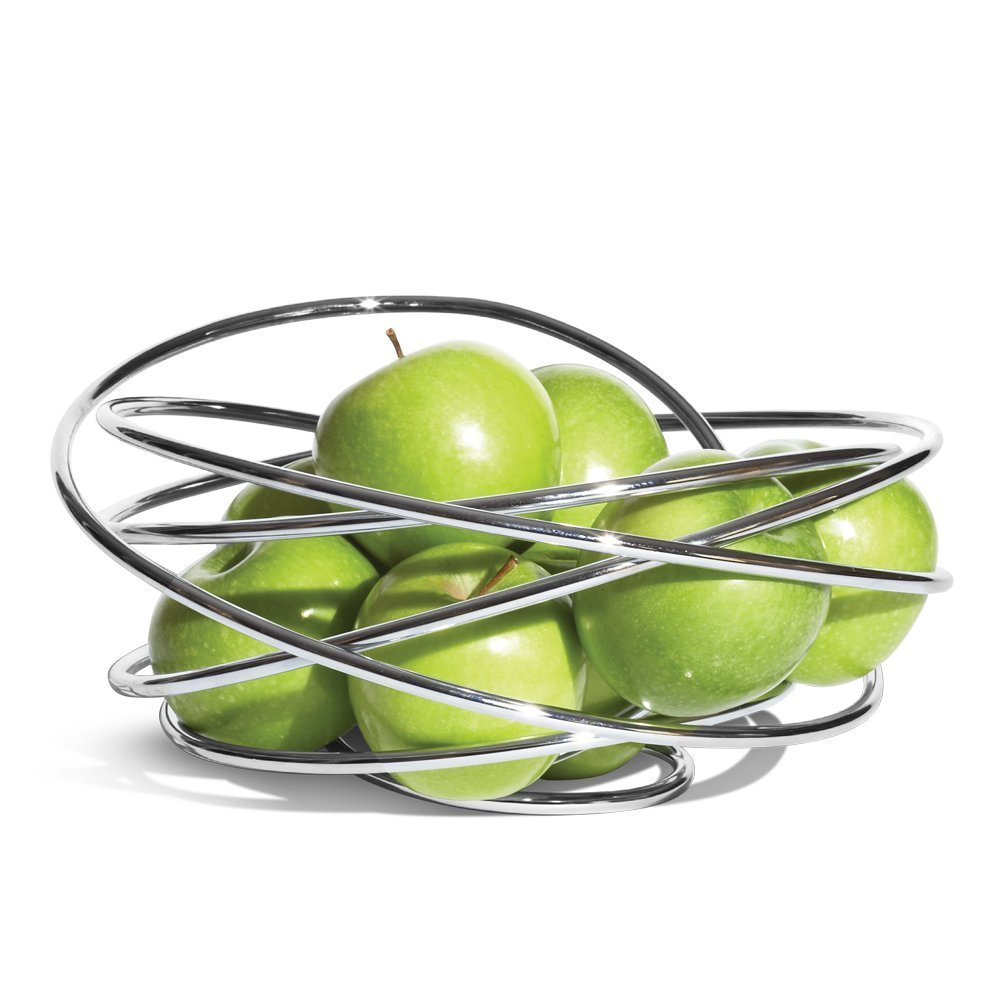 Black+Blum Fruit Loop Bowl | Eye Catching Modern Handcrafted Metal Wire Fruit Basket Holder, Fibonacci Curve Inspired Design Table Decoration, Chromed Steel