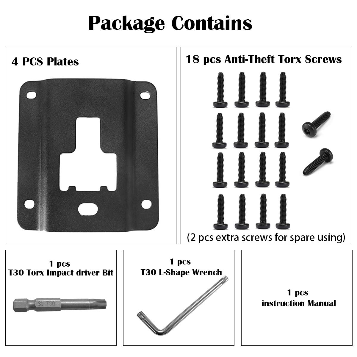4 pcs Truck Bed Cargo Tie Down Brackets Plates for Ford F150 F250 F350 2015-2018 Replacement of Ford FL3Z-9928408-AB Bed Load Hook Reinforcement Panel Accessories with 18 pcs Torx Screws/& Install Tool