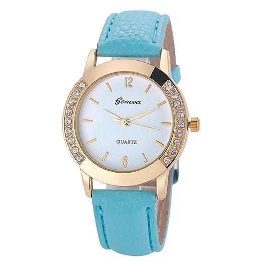 QinMM Reloj de pulsera de cuero de cuarzo analógico Geneva Women Diamond (Cielo azul): Amazon.es: Relojes