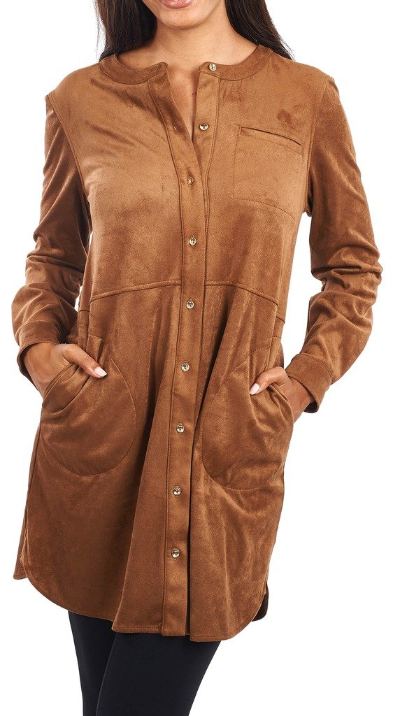 Joseph Ribkoff Cognac Brown Button Down Faux Suede Tunic Style 163351 - Size 6