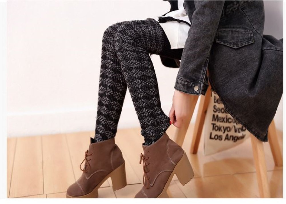 AM Landen Wool Blend Knee Highs,Thigh High,Cuffs Knit Crochet Leg Warmer(Thigh High Black) by AM Landen (Image #5)