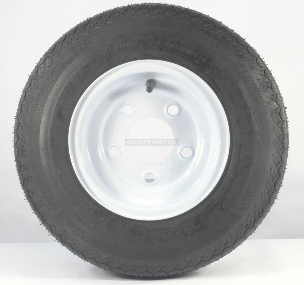 eCustomRim 2-Pack Trailer Tire & Rim 480X8 Load C 5 Lug Conventional White 53940