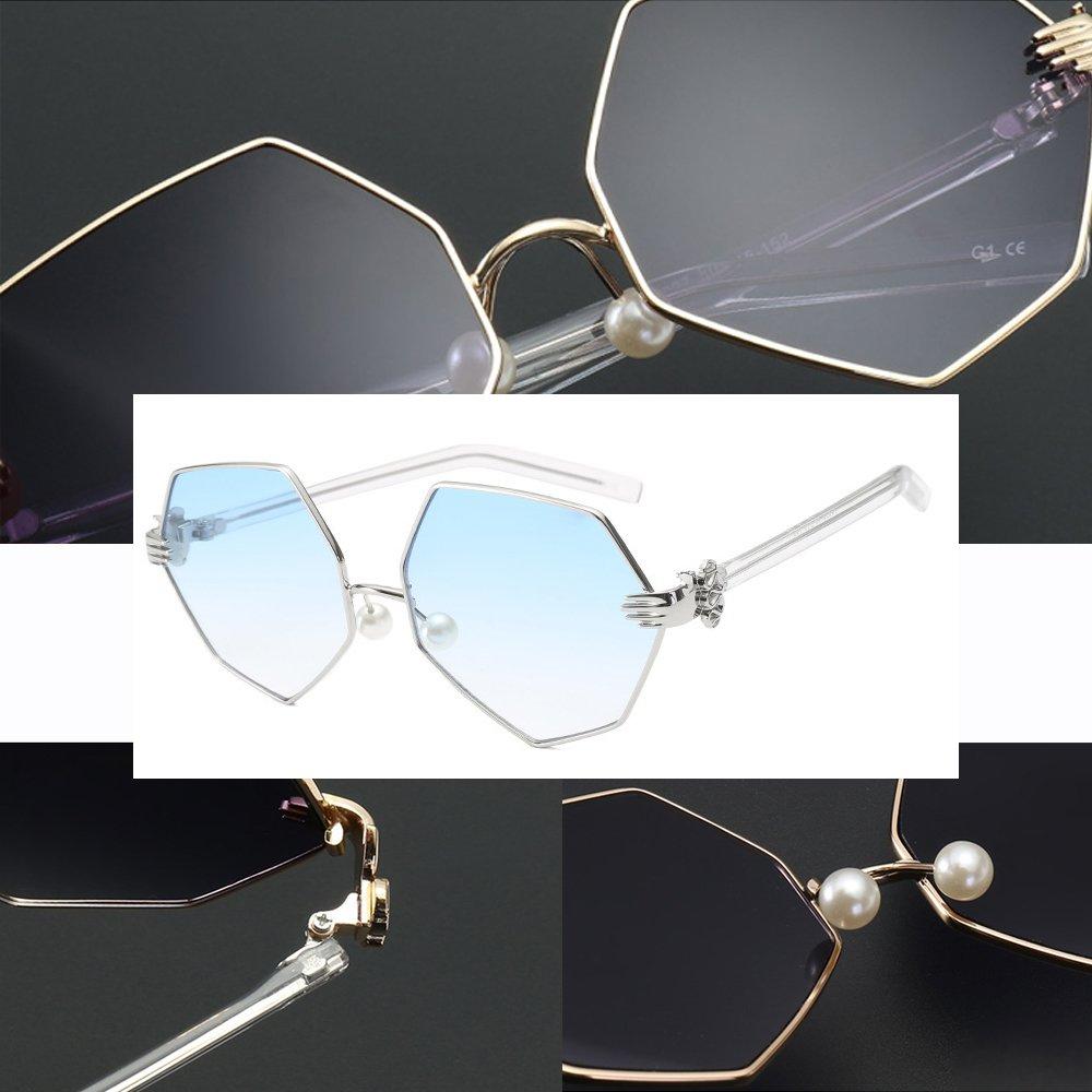 KINDOYO Punk UV 400 Protection Mode Lozenge métal Vintage Lunettes de soleil Unisexe, Argenté-Bleu C5