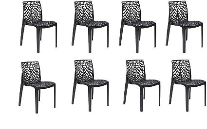 DZYN Furnitures Supreme Plastic Web Chair (Black) - Set of 8