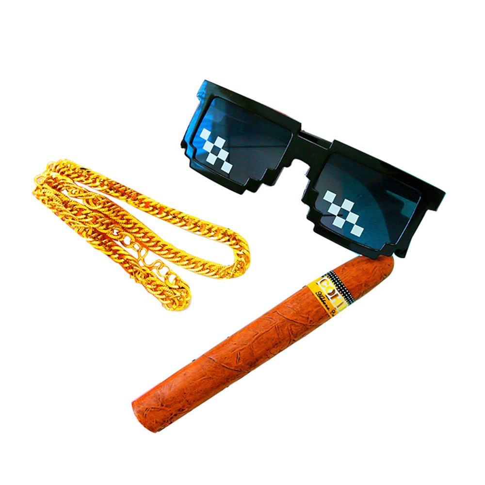 Deal With It - Thug Life Cosplay Set - Pixelated Sunglasses,Necklace,Cigar