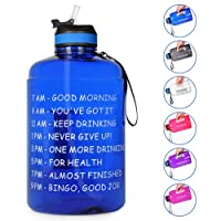 Opard Gallon Water Bottle with Time Marker Straw and Handle 128oz 1 Gallon Water...