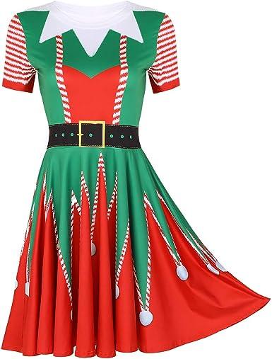 ranrann Disfraz de Duende Navidad para Mujer 3D Estampado Vestido ...