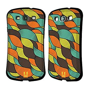 Head Case Designs Retro Doodle Waves Hybrid Gel Back Case for Samsung Galaxy S3 III I9300