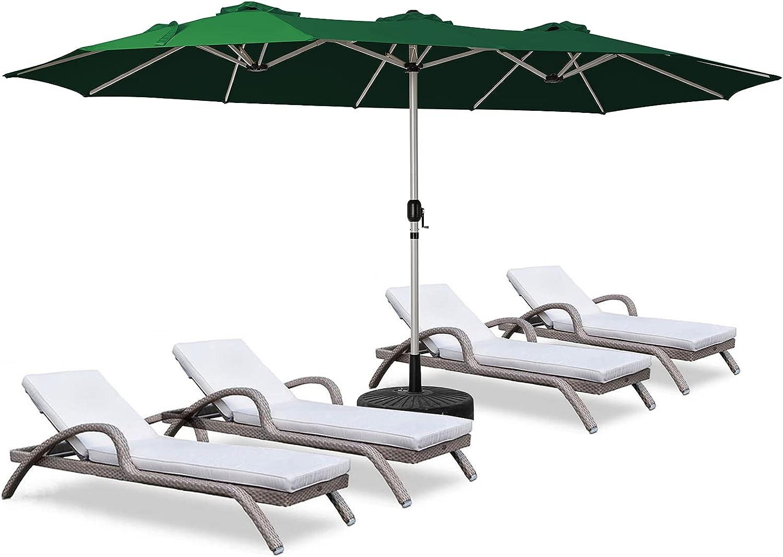 ROWHY 15ft Patio Umbrella Double-Sided Outdoor Market Umbrella Oversize Umbrella with Crank for Pool, Patio Furniture, Patio Shade, (Dark Green)
